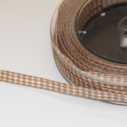 Schleifenband Vichykaro braun / weiss kariert 8mm