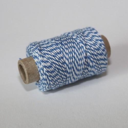 kleine Rolle dünnes Baumwollgarn blau weiss 35 Meter