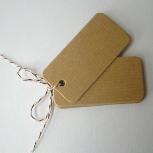 Paketanhänger Geschenkanhänger rechteckig Kraft 8x4cm