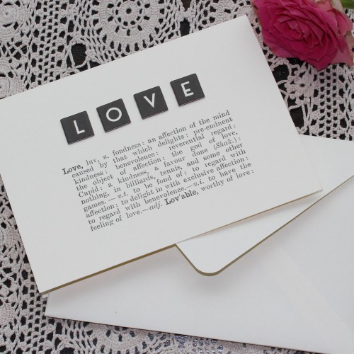 "Grusskarte ""LOVE"" Dictionary Print"