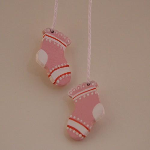 Holzhänger Babysöckchen rosa doppelt