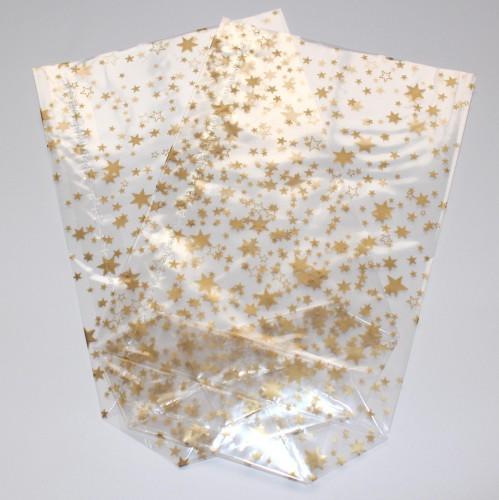 10 Folienbeutel mit goldenen Sternen Gr.L