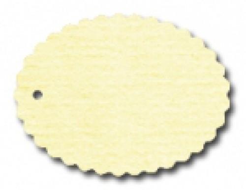 10 ovale Pappanhänger creme gelb Wellenkante 60x45mm