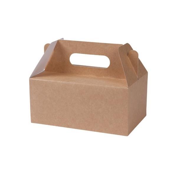 5 Stk Schachtel Lunchbox kraft mit Henkel Gr.L