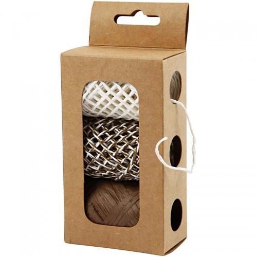 Set Papierkordel braun / weiss 3 x 10 Meter