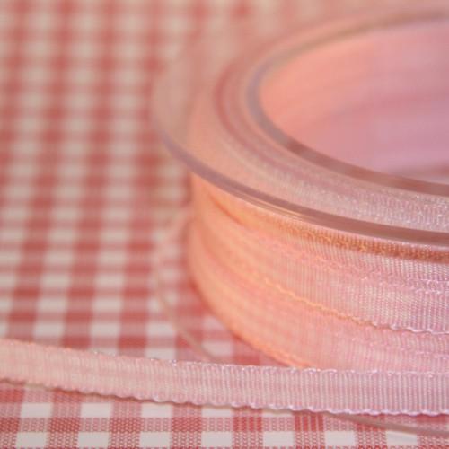 Schleifenband Vichykaro rosa / weiss kariert 6mm
