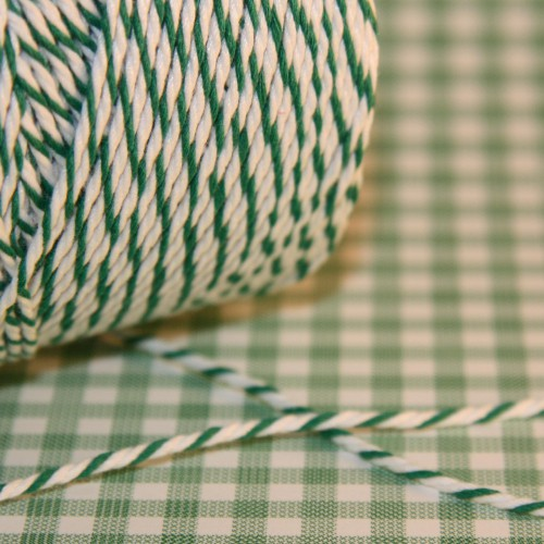 Baumwollgarn grün / weiß Metzgergarn 3fädig