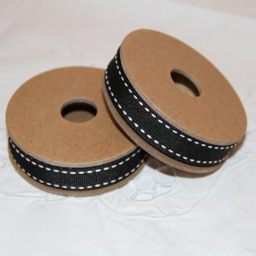 Rolle schmales Band schwarz mit Stick-Muster 3 m