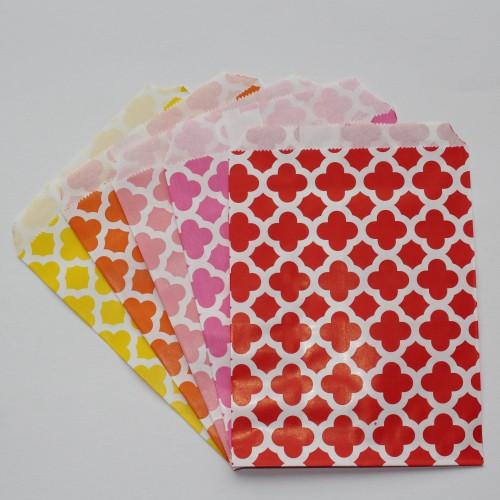 10 Papiertüten TILES FLOWER rosa