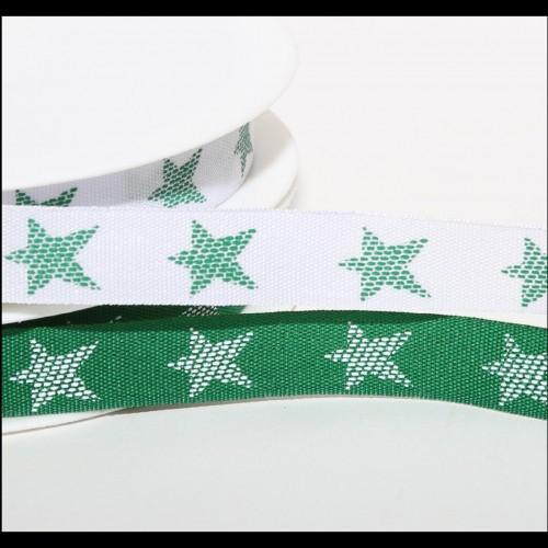 Band grün mit weissen Sternen 12mm
