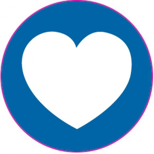 10 Herz Sticker Etiketten blau weiss