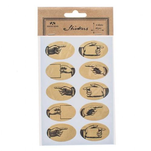 40 Stk. vintage Sticker Hand Kraft