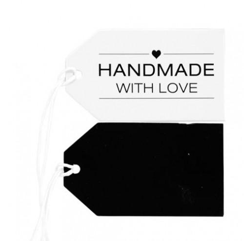 5 Pappanhänger Handmade schwarz weiss