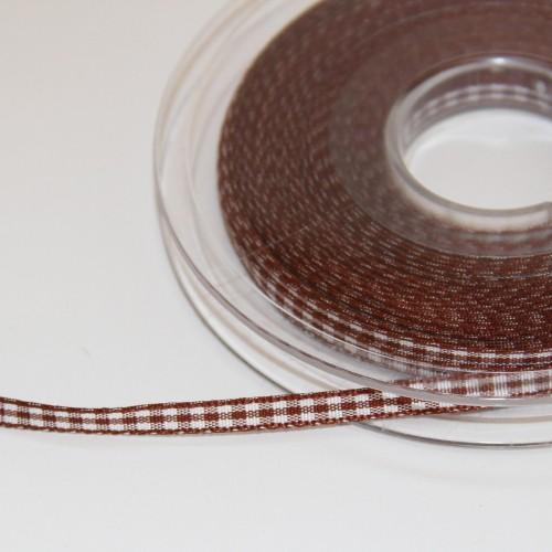 Schleifenband Vichykaro braun / weiss kariert 5mm
