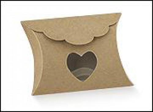 5 Faltschachteln Kissenschachteln Herz Kraft 8x8,5x3cm
