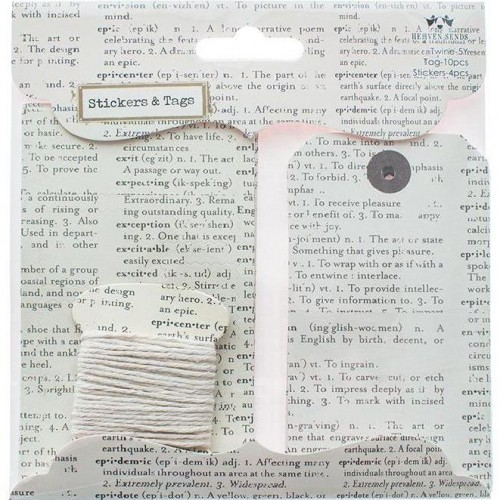 Set vintage Sticker & Paketanhänger mit Garn