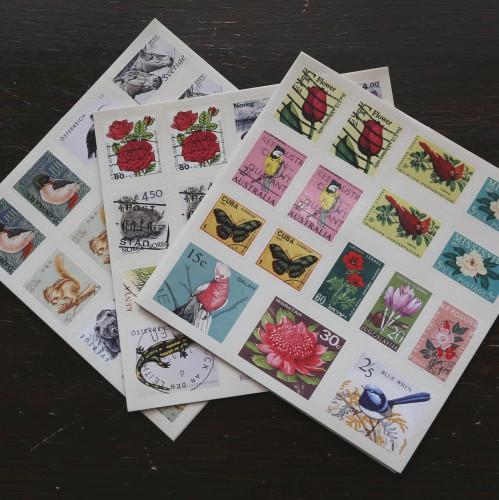 Sticker Briefmarken Pflanzen/Tiere