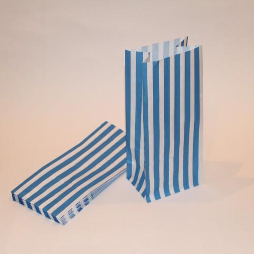 blau weiss gestreifte Papierbeutel mit Boden 10 Stk