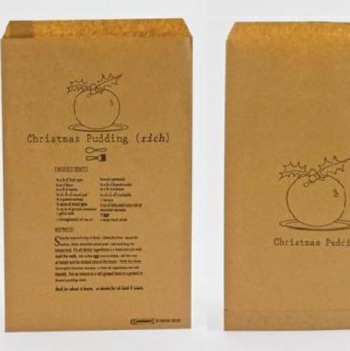 10 Papiertüten Kraft brit. Weihnachten Christmas Pudding