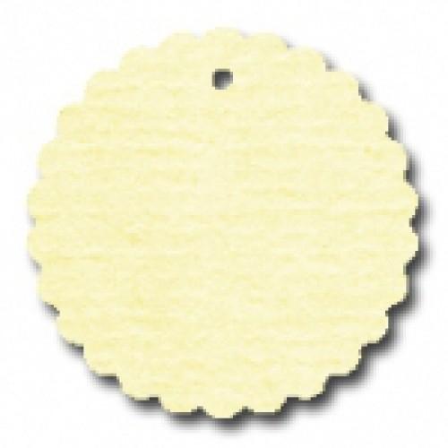 10 runde Pappanhänger creme gelb Wellenkante 49mm