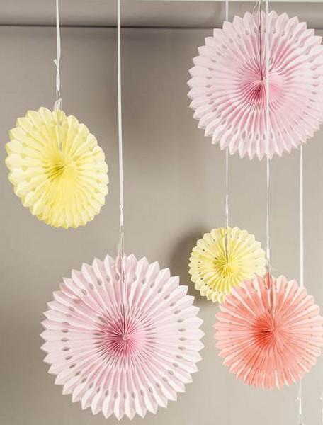 3er Set Wabenpapier Blumen rosa apricot gelb