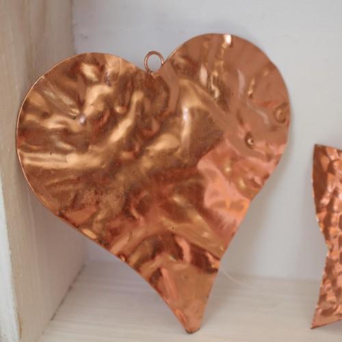 Metallherz Kupfer Dekohänger 12cm