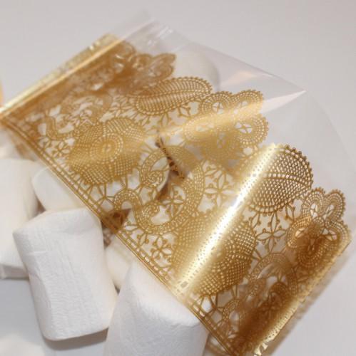 10 Folienbeutel mit goldenem Spitzenmuster Gr.L