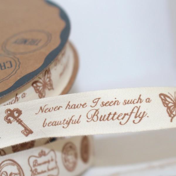 Dekoband vintage Script Key Butterfly 1,5cm