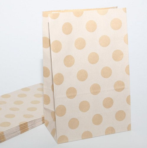 10 Papierbeutel Kraftpapier Punkte weiss
