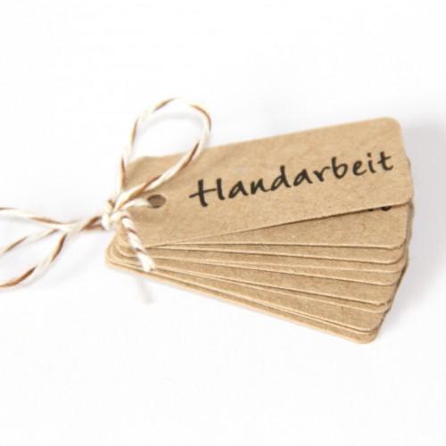 """Preisschilder """"Handarbeit"""" Kraftpapier klein 10 Stk"""