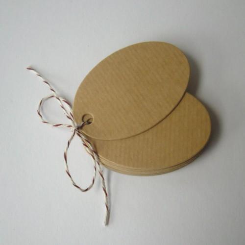 Paketanhänger Geschenkanhänger Oval Kraft 5x3cm