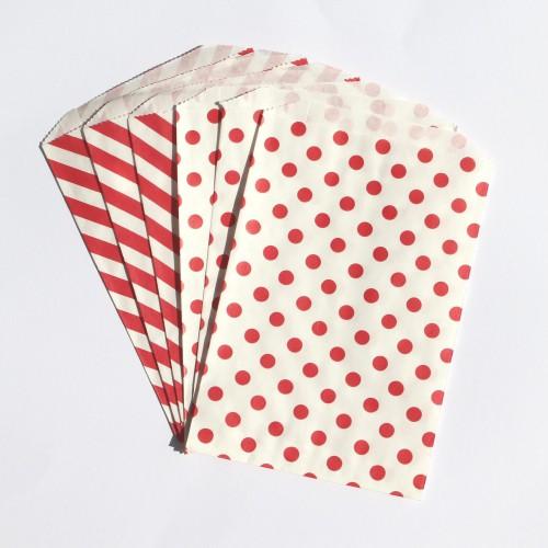 Papiertüten weiß mit roten Punkten & Streifen