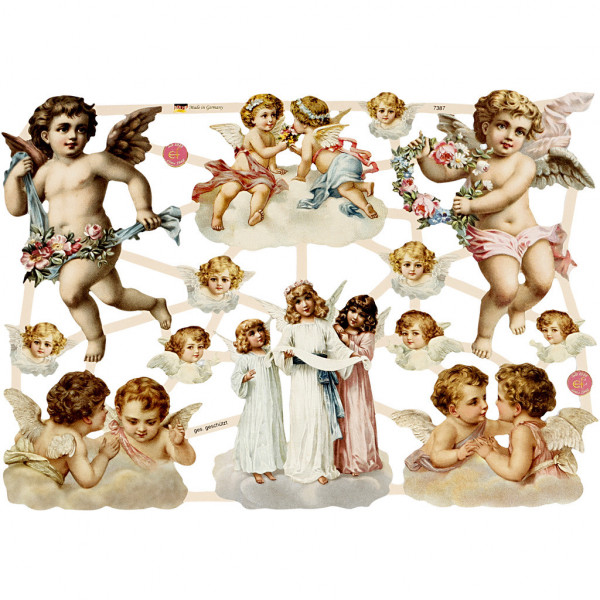 "Glanzbilder ""Blumen, Kinder, Engel"" Bogen Nr. 29 Oblaten"