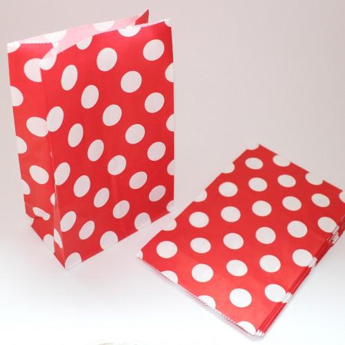 10 Papierbeutel rot mit weissen