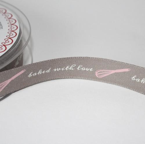 Schleifenband BAKED WITH LOVE 15mm graubraun