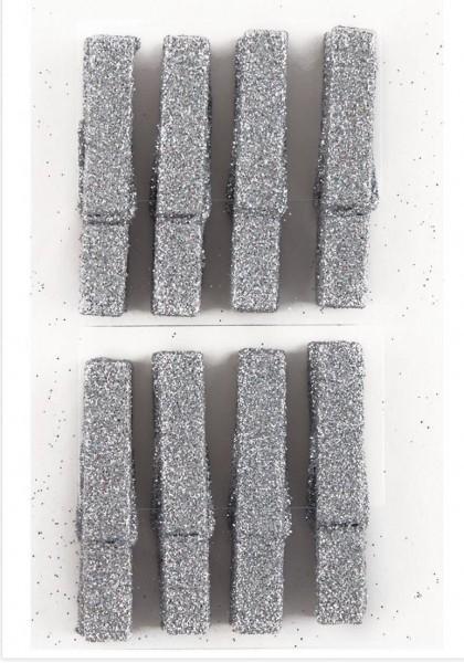 Wäscheklammern 8 Stk silber glitzer