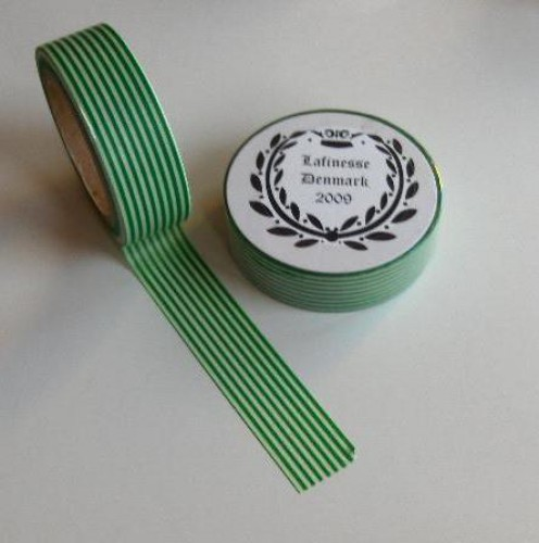 Washi Masking Tape grün weiss Stripes