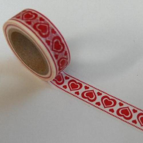 Washi Masking Tape Folklore Herzen rot weiss