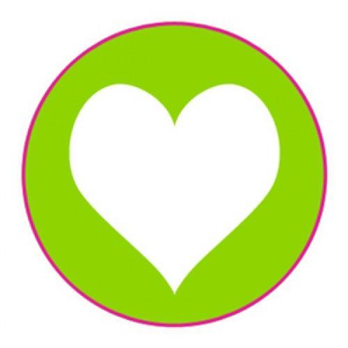 10 Herz Sticker Etiketten hellgrün weiss