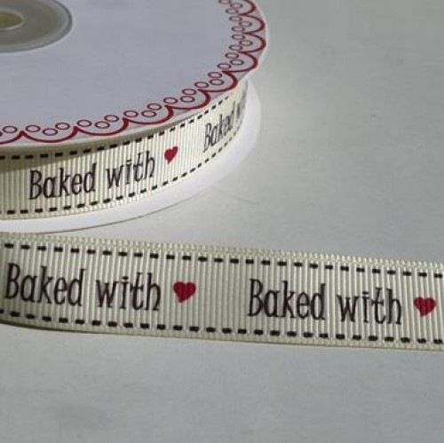 """baked with love"" Rolle 3 Meter Ripsband"