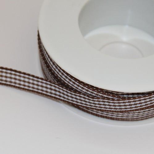 Schleifenband Bauernkaro braun / weiss kariert 10mm Landhaus