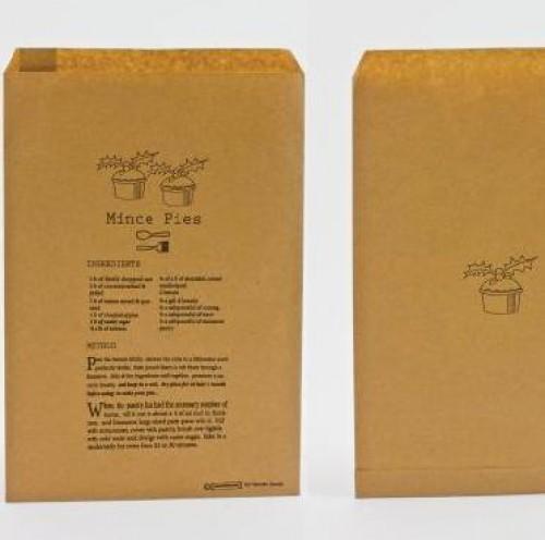 10 Papiertüten Kraft brit. Weihnachten Mince Pies