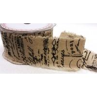 Leinenband bedruckt Script2 5cm breit Meterware