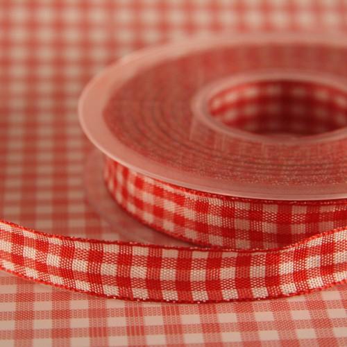Schleifenband Bauernkaro rot / weiss kariert 14 mm Landhaus