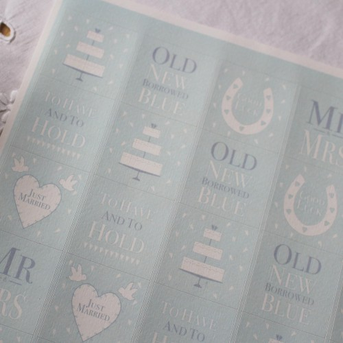 Stickerbogen vintage Wedding hellblau