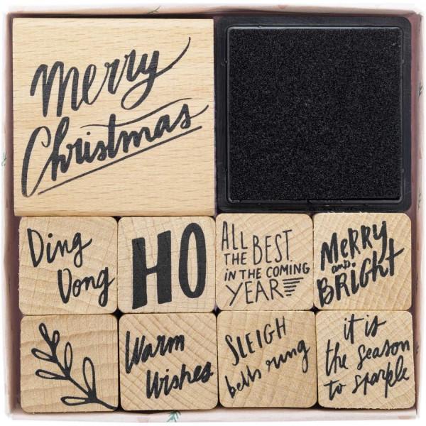 Stempelset Weihnachten DIY 9 Ministempel CHRISTMAS