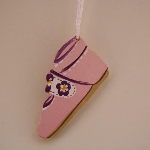 Holzhänger Babyschuh rosa