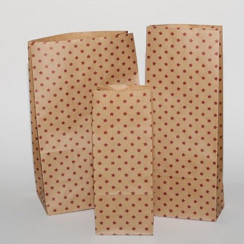 5 Stk. hohe Papierbeutel Kraft mit roten Sternen