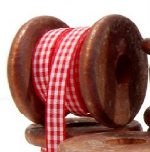 Holzspule mit 3 Metern rot weisses Karoband