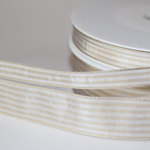 Schleifenband beige / weiß gestreift 25mm
